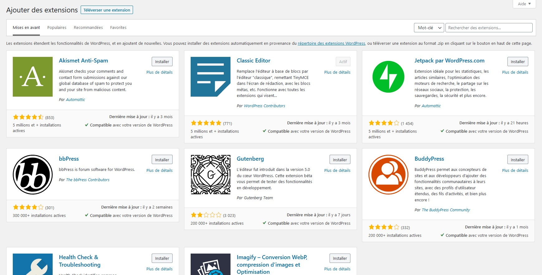 wordpress - extensions wordpress - bibliotheque extensions wordpress